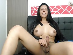 stunning transwoman tugging her cock on webcam