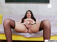 Latina shemale Gaby Anchieta fingers her ass and jerks off
