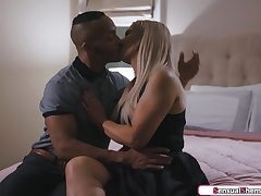 Busty blonde tranny Kayleigh Coxx anal fucked by a black guy