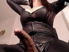 latex shemale with big cock wanking hard and cumming big loads
