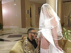 Trans bride having cock deeply inside in the house hall